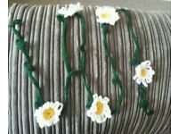Hand crocheted flower garlands