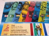 Women's World Cup Finals Tickets England V India @ Lords 23.07.2017
