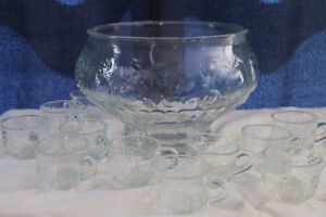 Vintage punch bowl and glasses