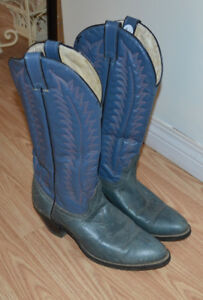 Ladies Blue/Grey Genuine Leather Cowboy Boots