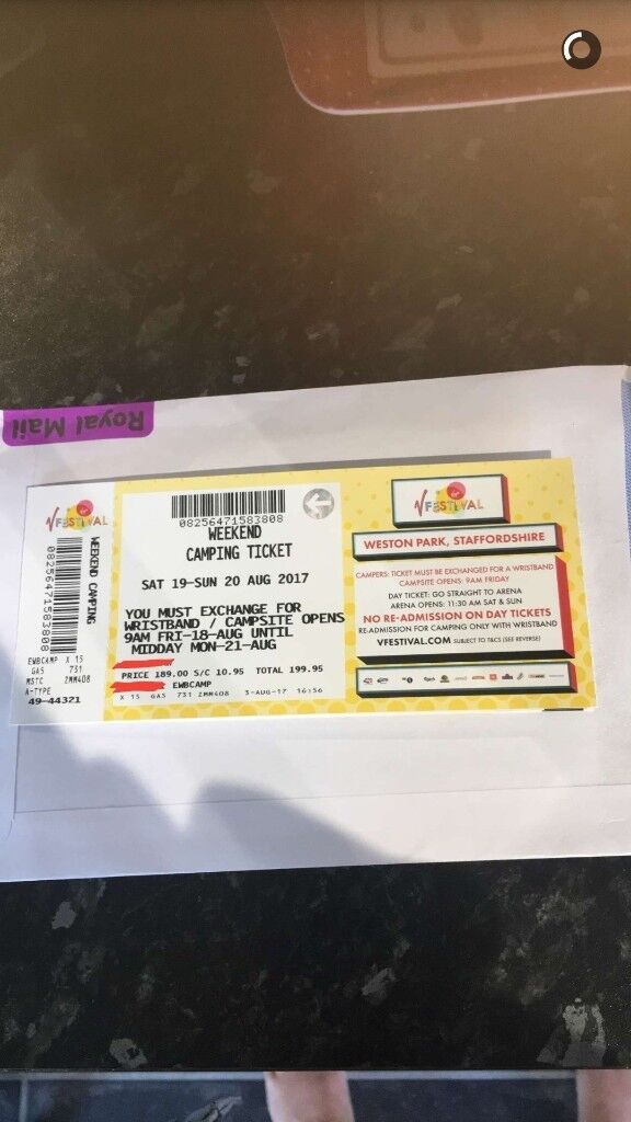 I have 1 ticket to V festival at weston park, camping ticket from friday 18th aug- monday 21st aug