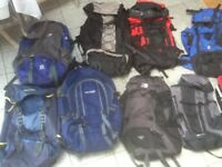 3 are new/unused but most are used(lightly) rucksacks-50 litres to 70 litres-from £30 to £45 each