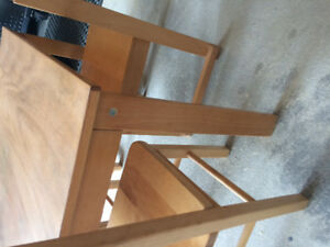 Kids size wooden table, five chairs