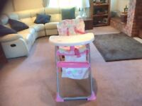 Pink high chair for sale