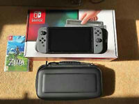 Nintendo Switch with Grey Controller and Zelda