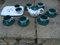 16 items *IMMACULATE* VINTAGE DENBY GREENWHEAT TEA SET WITH MATCHING TRAY