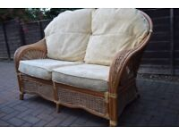 Wicker 2 seater sofa, and matching chair