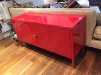 Red metal cabinet
