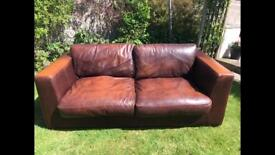 Brown 2 / 3 seater leather sofa £60 Ono Maryport