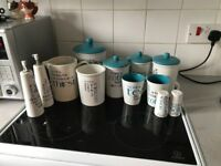 Blue and white kitchen accessories