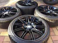 """Genuine 19"""" BMW MV4 Black Refurbished Alloy wheel & Tyres MV2 MV3 E92 E90 E46 8mm"""