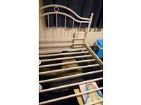 Metal white bed frame king size