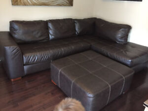 Leon's leather sectional and ottoman