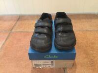 Boys School Shoes - Clarks -black - Brontostep -Size 1 G Junior
