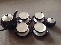 Denby Amethyst Purple Tea Set 4 Cups and Saucers, Teapot and sugar Bowl