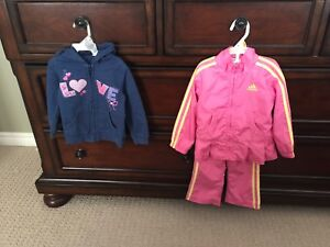 Girl Spring/Fall Coat and splash pants, Adidas and Hoodie, 2T