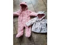 Girls coat/pramsuit bundle 9-12 months. like new