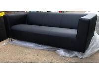 Moda 3 Seater Leather Eff Sofa - Black