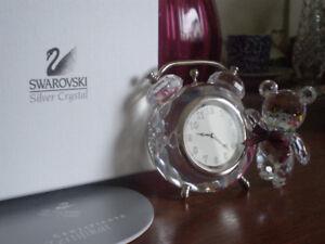 "Swarovski Crystal Figurine- "" Kris Bear with Clock """