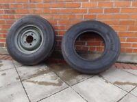 Michelin tyres, one on Landrover \ Army Sankey trailer rim