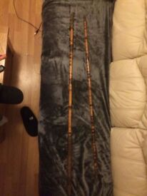 Antique Bamboo sea fishing rod. Tiger stripe pattern. 8ft , pub decoration