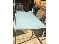 LARGE GLASS TOP GARDEN TABLE