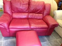 2 seater wine colour sofa and footstool in vgc