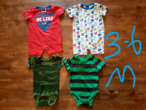 Boys short sleeve onesies from 3 months up to 24 months