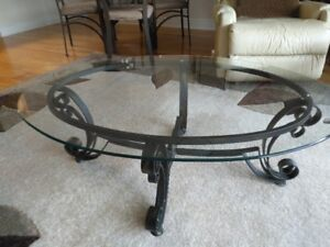 Wrought Iron Coffee Table with beveled. glass top.