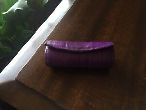 Purple Eel Skin Lipstick  Holder with mirror