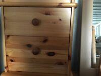 2 solid pine bedside drawer sets
