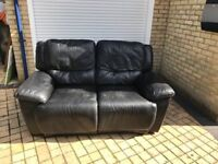 Black Leather Recliner Sofa (2 seater)