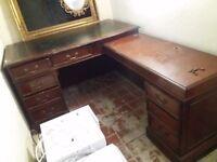 Large Solid Wooden Corner Vintage Writing Desk