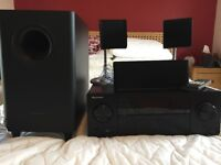 Pioneer 5.1 AV receiver with front, back, centre and sub-woofer speakers for sale
