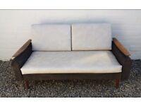Vintage 60s Teak Wood Sofa Bed by Greaves & Thomas Restoration / Re-upholstering