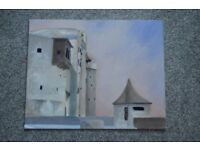 Modern Castle Acrylic and Chalk Painting