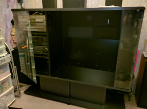 Big entertainment stand with glass case