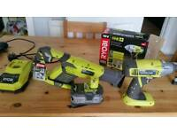 Ryobi impact wrench drill, + charger + battery, plus saw