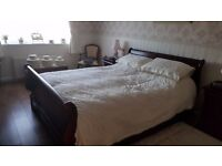 mahogany double sleigh bed in excellent condition ,