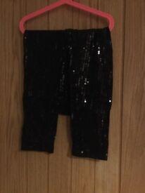 Black sequin leggings, age 10 years