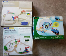 3 x wooden toddler train sets (brio or compatible)