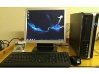 "Desktop PC Computer Slim Form & 17"" Monitor Built in Speaker"