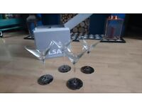 LSA Set of 4 platinum based cocktail glasses - martini style