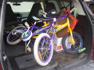 two children's bikes