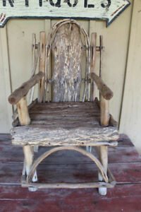 Old Child's Wood & Bark Chair