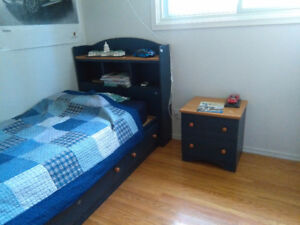 Twin Captain's bed set with mattress (5 pieces)