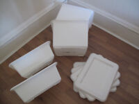 4 x IKEA 'SNUTT' Plastic Storage Boxes in White ~ two large & two small all with lids - Quick Sale!