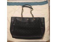 Tory Burch handbag, Designer bag, black, large tote bag, leather, almost new