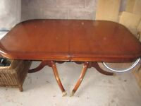 Mahogany twin pedestal extendable dining table