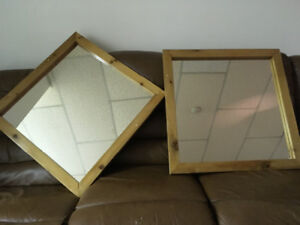 Knotty pine framed mirrors